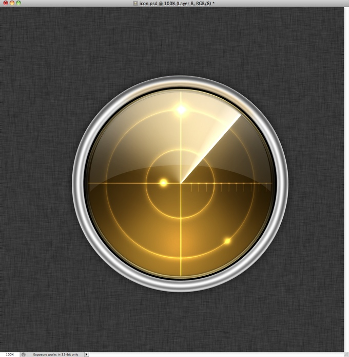 Radar Icon in Photoshop