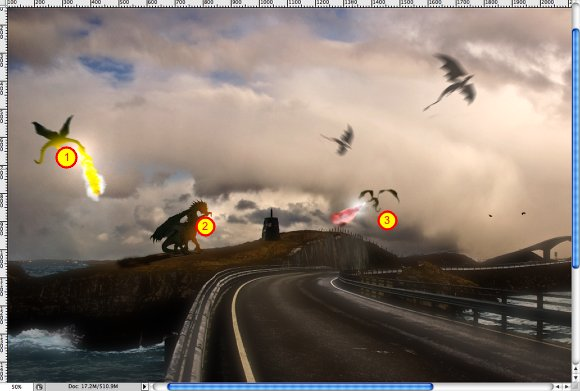 Stunning Dragons Attack in Photoshop - Playing with 3D
