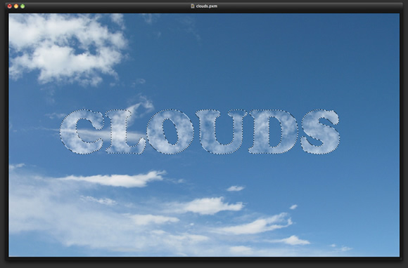 Clouds Text Effect in Pixelmator