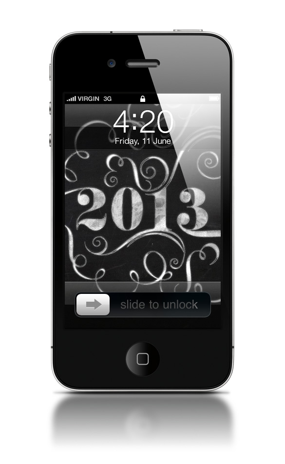 Abduzeedo's iPhone wallpaper of the week - Happy 2013